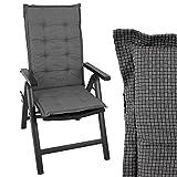 Wohaga Stuhlauflage für Hochlehner, 110x44cm, 4cm Dick, Anthrazit, Gartenstuhlauflage Polsterauflage Sitzauflage Sitzpolster Sitzpolsterauflage