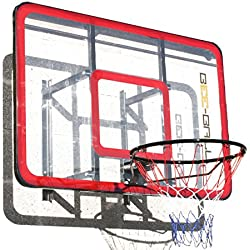 BEE-BALL ZY-022 - Canasta de baloncesto de tamaño reglamentario (con acrílico reforzado y aro flexible, incluye sujeción de pared)