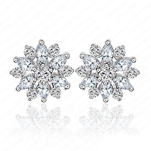 UltiFit (TM) de novia Moda Ronda de joyeršªa y marquesa de corte Pendientes de boda Cubic zirconia diamante de la flor del perno prisionero CER0006-B