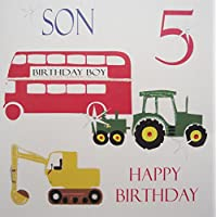 WHITE COTTON CARDS Son 5 Happy, Handmade Age 5 Birthday Card (Tractor, Bus, Digger)