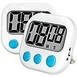 Etekcity Lot de 2 Minuteur de Cuisine Electronique Magnétique, Minuterie avec Grand Ecran LCD, Alarme Sonore, Compte-temps, Batterie Incluse, Grantie 2 Ans