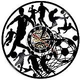 HHCUIJ 12 Retro Orologio Calciatori Calciatore Palla Rete Obiettivo Record Vinile Orologio da Parete Squadra di Calcio Sport di Gruppo Decorativo