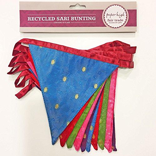 Fair Trade Wimpel mit 10 große Fähnchen 280cm (Recycling Sari)