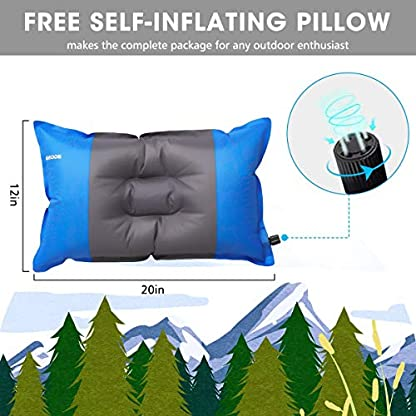 SGODDE Inflatable Sleeping Mat Camping Self Inflating Sleeping Pad with Pillow, Compact Lightweight Mattress Inflatable Roll Up Foam Bed Pads for Outdoor Backpacking Hiking 3