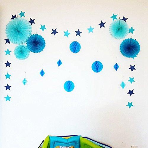 Star Garland Wabenbälle Seidenpapier Fans für Baby Dusche Bridal Dusche New Year Decor blau (Baby Girl 1. Geburtstag-thema-ideen)