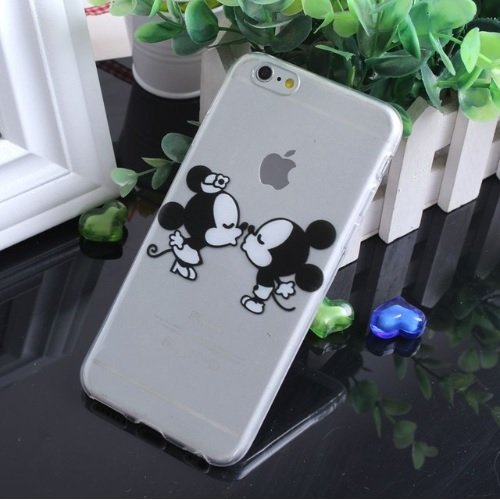coque silicone transparente pour iphone 6 - Disney - kiss mickey minnie