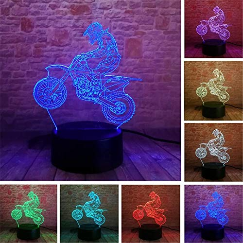 PDDXBB Explosion Muster Motorrad Serie Bunte 3D Kreative Lichter Led Nachtlicht Geschenk Tischlampe Lampe Vision DREI Farben 4 Mm (Remote Touch Riss Basis) - Home Visions-set Bett