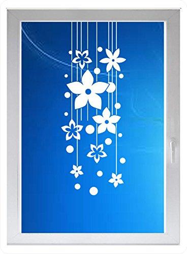 INDIGOS UG - Wohnzimmer Blumen Punkte Ornament - Farbe: Weiss - 96x36 cm - Sichtschutzfolie - Fensterfolie - Glasdekorfolie - für die Küche, Wohnzimmer Blumen Punkte Ornament ans Fenster (36 Dusche Tür)