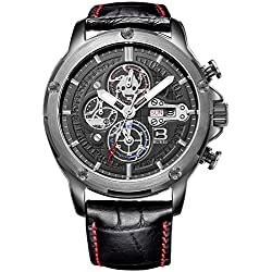 BUREI Men's Sports Chronograph Watch with Black Leather Strap and Day Date Calendar