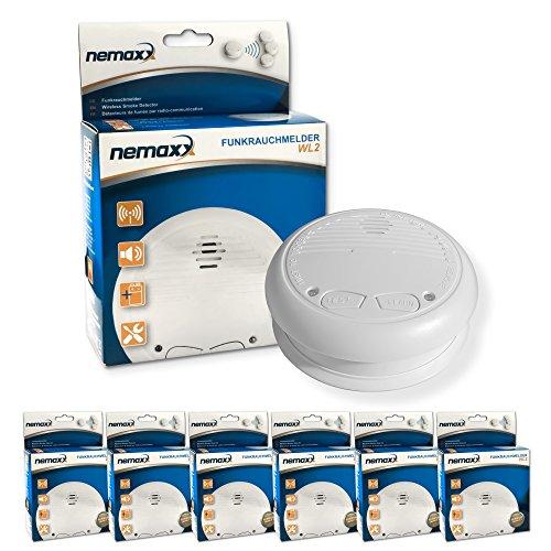 6x Nemaxx WL2 Funkrauchmelder ? hochwertiger Rauchmelder Brandmelder Set Funk koppelbar vernetzt ? nach DIN EN 14604
