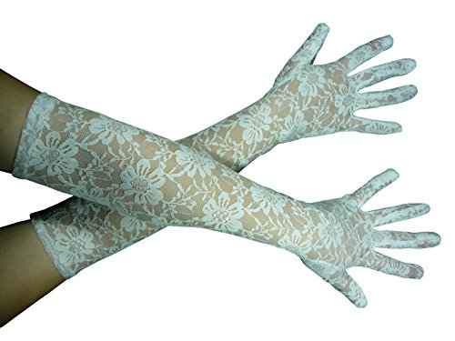 Für Oder Spitzen Erwachsene Handschuhe Weiße Schwarze (HO-Ersoka Damen Handschuh Spitze lang Oper Ball Kostüm)