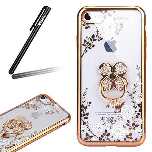 Coque pour iPhone 7/iPhone 8,iPhone 7 Or Rose Coque en Silicone Clair Ultra-Mince Etui Housse avec Bling Diamant,iPhone 7 Placage Coque Bling Bling Glitter Sparkle Diamond Silicone Case Rose Rose Gold Or trèfle-Fleur Blanche