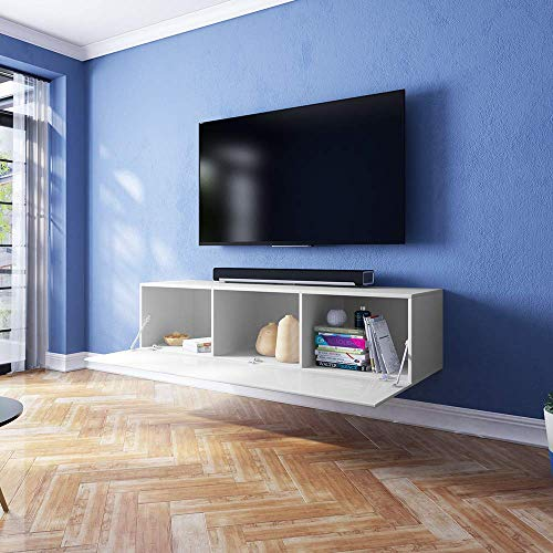TV-Schrank Lowboard Hängeboard SIMPLE mit LED Blau - 3