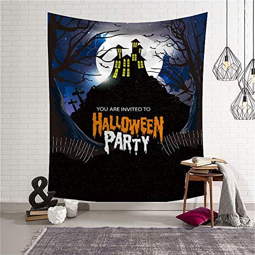 Qmber Wandbehang Tapisserie Sonnenuntergang Wald Ozean Berge Natur Hausdekorationen Wandteppich zum Wohnzimmer Halloween Horror Bloody Ghost Print Tagesdecke,E Halloween Ghost Cowboys