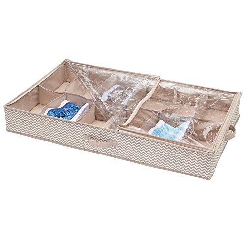 Mdesign contenitore sottoletto con 12 vani – contenitori sottoletto con cerniera per scarpe, sandali, ciabatte – cassettone sottoletto – grigio talpa