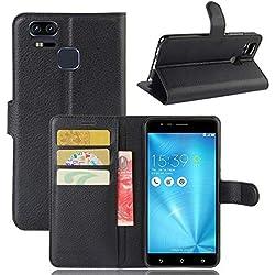tinyue® Coque pour ASUS Zenfone 3 Zoom S ZE553KL / Zenfone3 Zoom, Sac de Portefeuille en Cuir PU Flip Case, Protecteur d'aimant avec Fente Carte Support Protecteur de Texture de Litchi, Noir