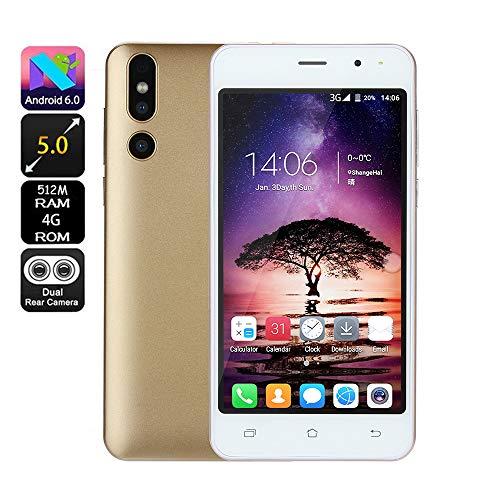 bescita Günstiges Smartphone Android 6.0 4G ROM(32GB Erweiterbar) Dual SIM Handy 5.0 Zoll, Doppel Kameras(30w + 200w), Quick Charge - IPS-Bildschirm GSM/WCDMA-Touchscreen WiFi GPS 3G Handy (Gold)