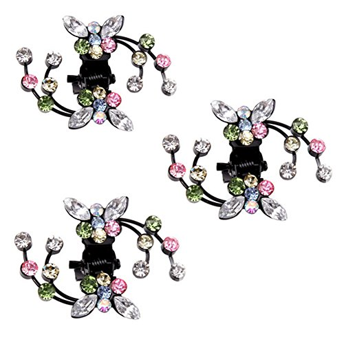 Belle bijoux filles fleurs clips cheveux Mini, 6 comte, multicolore
