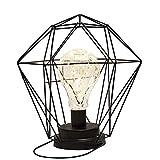 Supertop Fer Forme Géométrique Table Lampe En Métal Panier Cage Plafonnier Lumière Nordique Style Éclairage Décor Diamant Jolie Ornement pour Bureau À Domicile Café Noir