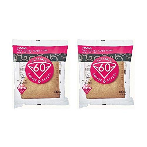 Hario V60 02 Kaffee Papierfilter Natur, 2er Pack Set (Gesamtanzahl von 200 Blättern) (Brauer Filter)