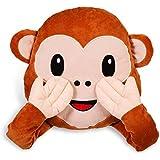 """HC-Handel 922623 Emoji Kissen """"Monkey Emotion"""" aus Plüsch 30 x 36 cm"""