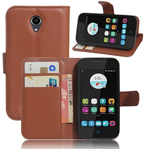 Tasche für ZTE Blade L110 Hülle, Ycloud PU Ledertasche Flip Cover Wallet Case Handyhülle mit Stand Function Credit Card Slots Bookstyle Purse Design braun