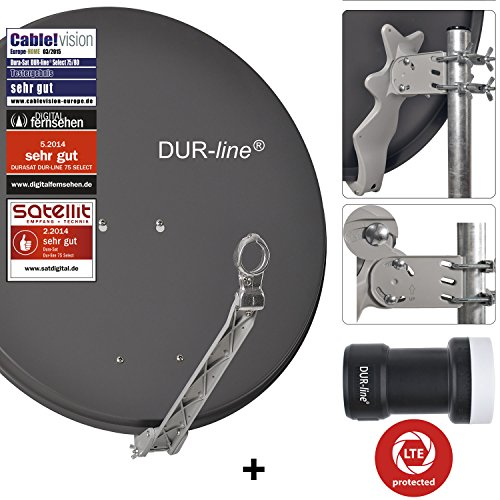 "DUR-line 1 Teilnehmer Set - Qualitäts-Alu-Sat-Anlage ""DVB-T2 Alternative"" - Select 75/80cm Spiegel/Schüssel Anthrazit + DUR-line Single LNB - Satelliten-Komplettanlage - für 1 Receiver/TV [Neuste Technik - DVB-S/S2, Full HD, 4K/UHD, 3D]"