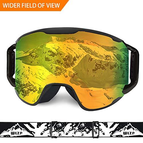 Skibrille,OTG Doppelte Anti-Fog UV Schutz Winter Schnee Sport Schutzbrillen, Staubdicht Kratzfest, Winter-Schnee-Sport Snowboard Schutzbrillen,Helm Kompatibel Schneebrille für Männer und Frauen (Gelbe Snowboard-schutzbrillen)