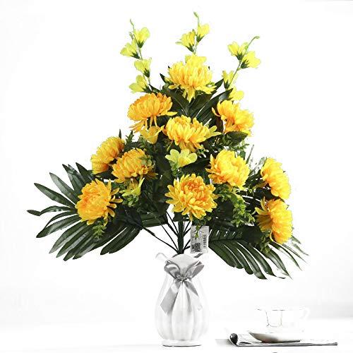 SKG369 Flor Artificial,19 crisantemos Artificiales, ofrendas del Cementerio de Qingming Flores Falsas, Flores de…