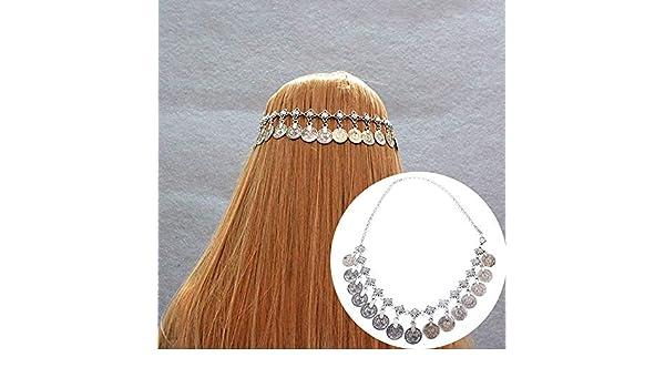 Vektenxi //Boho Alliage T/ête Cha/îne Antique Coin Pendentif Bandeau Bandeau Bande De Cheveux Bijoux Femmes WeddiOutil de maquillage pour parti argent antique /économique et durable