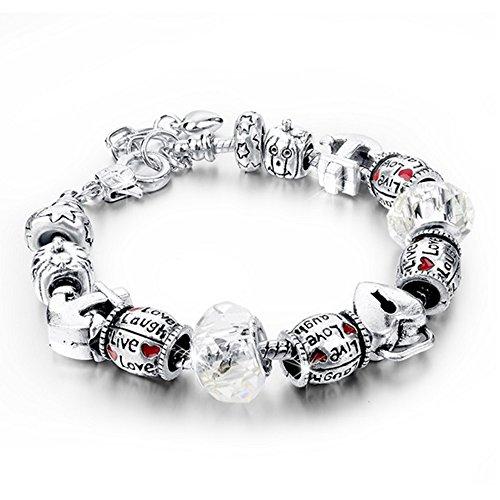 Bracciale donna e ragazza con beads placcato argento con zirconi - componibile, misura regolabile, compatibile pandora - massima brillantezza, alta qualità - silver clear
