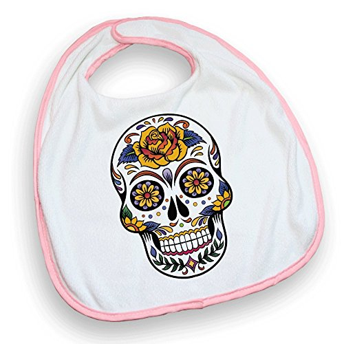 Bavoir rose Tête de mort mexicaine / Sugar skull color - Fabriqué en France - Chamalow Shop