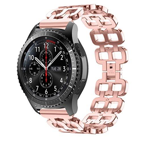 Diadia Armbanduhr BANDS, Edelstahl Kette Stil Armband Uhrenarmband Sport Fashion Ersatz Handgelenk Band für Garmin Vivosmart HR, rose
