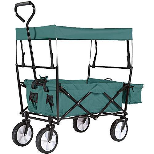 HENGMEI Faltbarer Bollerwagen Handwagen mit UV-Schutz-Sonnendach Faltwagen Transportwagen Gartenwagen Traglast 70 kg 360° Räder - für Gärten, Einkaufsmöglichkeiten, Grün