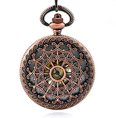 Stayoung Steampunk Vintage Rojo Números Arábigos Cuerda Manual Reloj de Bolsillo Mecánico Colgante Cadena Atrapasueños