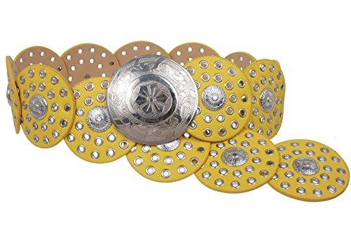"""De la Mujer 31/2""""(90mm) de ancho Boho Disco Concho cinturón de cuero - Amarillo - Medium - 42 de extremo a extremo"""
