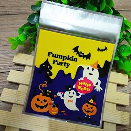 100 PCS Happy Halloween Snack Paket für Kinder, yoyoug 100 PCS Happy Halloween Candy Tasche Snack Paket Kinder Haushalt Kid Garten Home Decor