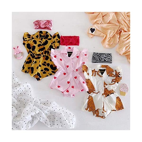 MAYOGO Monos para Bebé Niñas Verano Recién Nacidos 2019 Pelele Conjuntos Bodies Bebe Niñas Manga Corta Bautiz Mameluco… 2