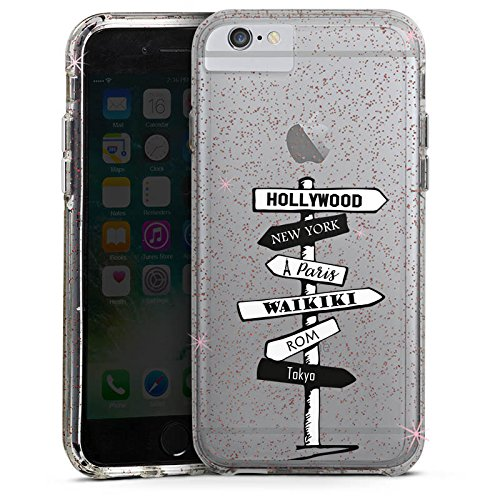Apple iPhone 7 Bumper Hülle Bumper Case Glitzer Hülle Wegweiser ohne Hintergrund Städte Bumper Case Glitzer rose gold