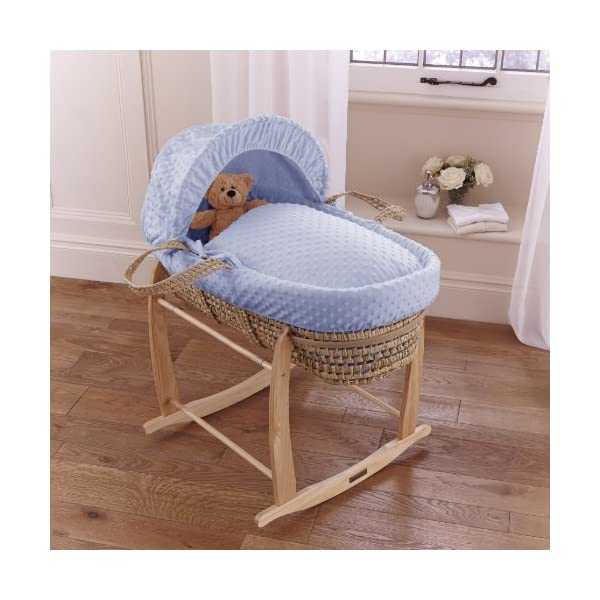 Clair de Lune Deluxe Rocking Moses Basket Stand (Natural)  A sturdy pine Moses basket stand rocks gently side to side to help soothe your baby to sleep. Adjustable plastic retaining bars ensure that your basket is securely held in place. Comes complete with stoppers so the basket can be locked into a stationary position. 3