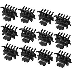 "12 PC 1.1 ""Long Black Kunststoff Mini Hairpin 10 Claws Haarspange Klemme für Damen"