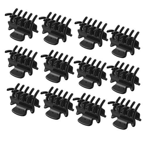 "12 PC 1.1 ""Long Black Kunststoff Mini Hairpin 10 Claws Haarspange Klemme für Damen"
