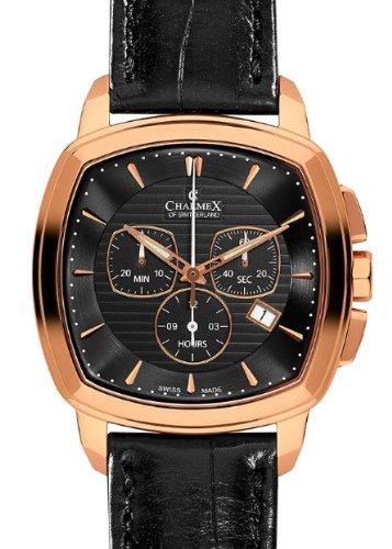 Charmex 2526 Homme Chronographe Noir Cuir Bracelet Date Montre