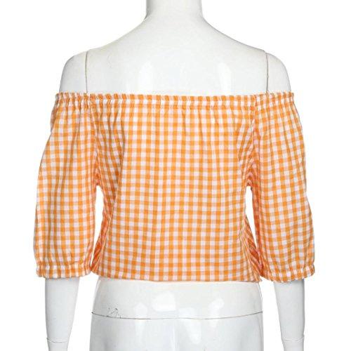 Damen Bluse, Bekleidung Longra Damen Casual Plaid Kurzarm reizvoll von der Schulterfrei T-shirt Oberseiten Bluse Tops Orange