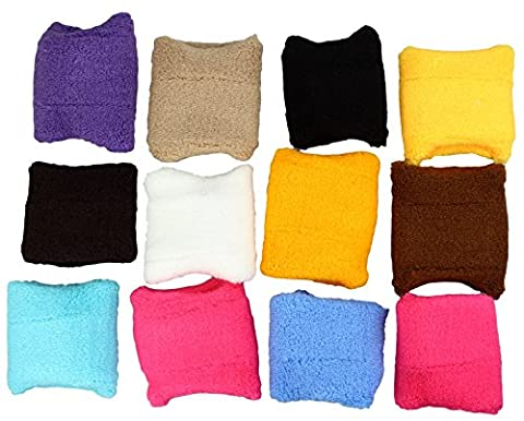 Set of 12 sweatbands / wristbands in various colors