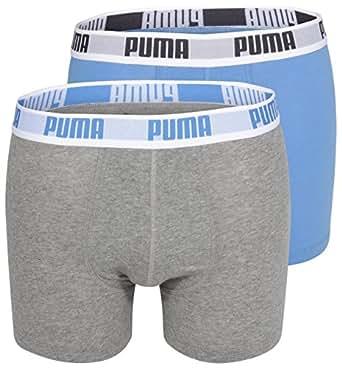 Puma Basic - Boxer - Lot de 2 - Uni - Homme - Bleu/Gris - Small