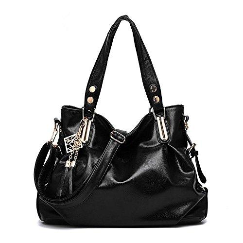 LDMB Damen-handtaschen PU Leder klassische Casual Cross Body weibliche weiche Tasche mit Fransen Schulter Messenger Handtasche Black