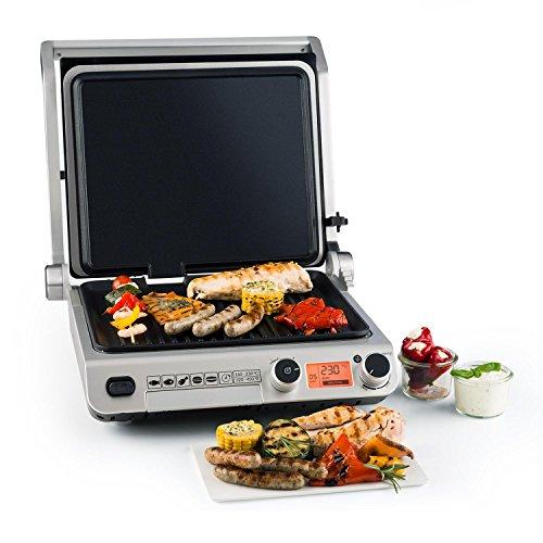Klarstein grand gourmet • griglia multifunzione • griglia a contatto • piastra panini • 2000w • griglie in alluminio • rivestimento vetroceramica • colore nero