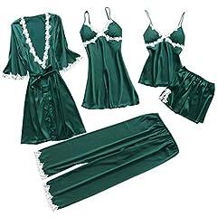 Idea Regalo - 5 PCS Camicie da Notte Donna Topgrowth Pigiama Raso Seta Indumenti da Notte con Pizzo Canotta + Pantaloni Lunghi + Abiti Set (Verde, L)