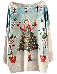 Femmes Batwing Noël à manches longues en vrac Pull en maille, hiver Knitwear Colorful